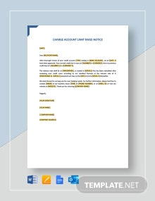 Charge Account Limit Raise Notice Template