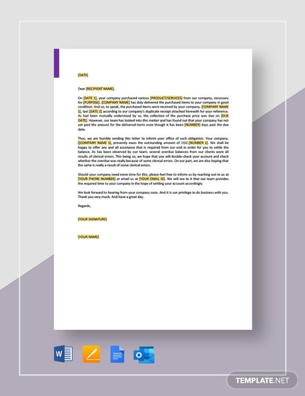 Collection Letter Clerical Error Template