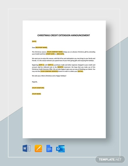 Christmas Credit Extension Announcement Template
