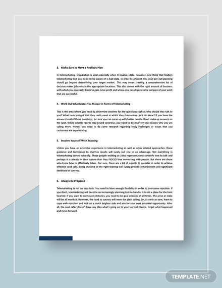 Telemarketing Tips Template [Free PDF] - Google Docs, Word, Apple Pages