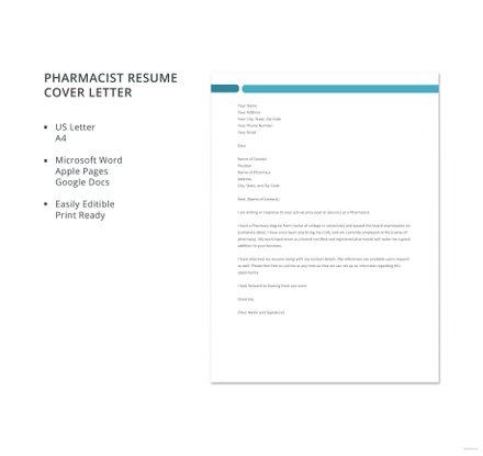 Free Pharmacist Resume Cover Letter Template