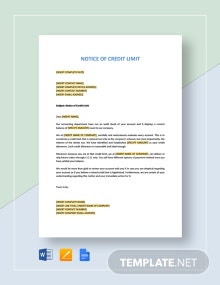 Notice of Credit Limit Template