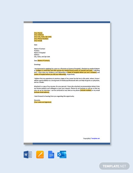 Free Physician Resume Cover Letter Template