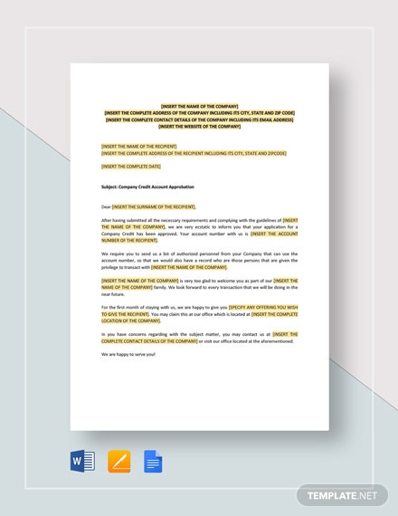Company Credit Account Approbation Template