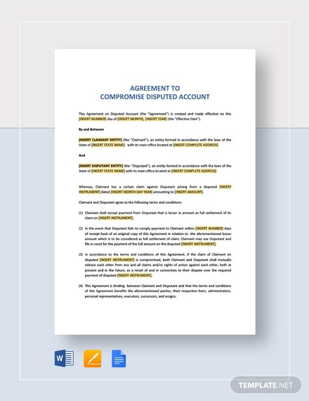 Agreement to Compromise Disputed Account Template