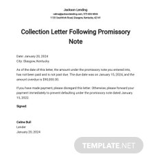 Collection Letter Following Promissory Note Template