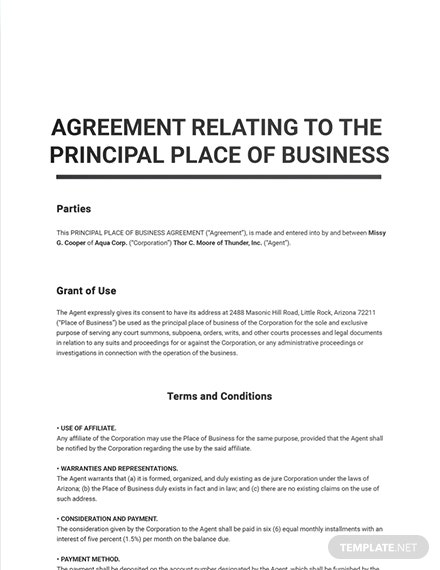 Agreement Relating to the Principal Place of Business Sample