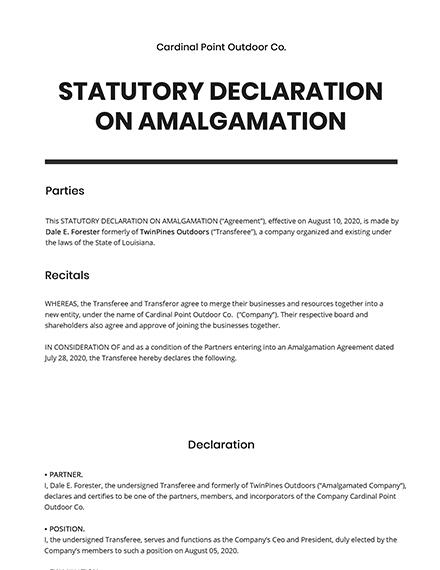 Statutory Declaration on Amalgamation Template