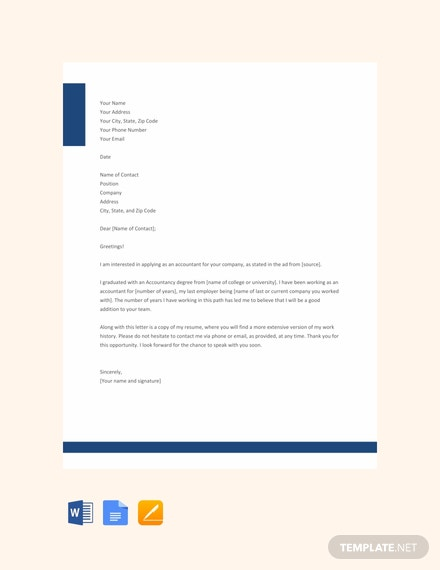 Free Professional Accountant Resume Cover Letter Template