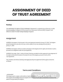 Assignment of Deed of Trust Template
