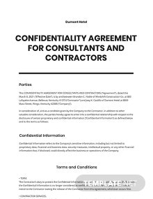 Confidentiality Agreement for Consultants, Contractors Template