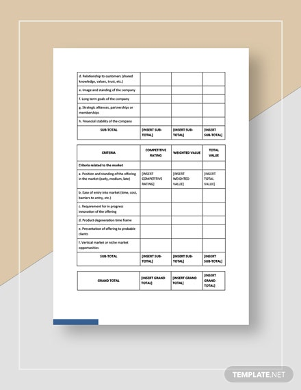 Products and Services Differentiation Worksheet
