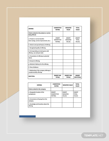 Products and Services Differentiation Worksheet Template