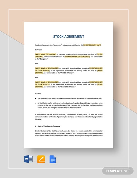 Stock Agreement Template
