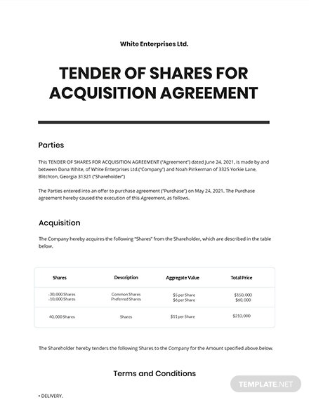 Tender of Shares for Acquisition Template