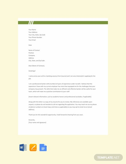 Free Professional Banking Resume Cover Letter Template