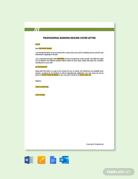 Professional Banking Resume Cover Letter Template