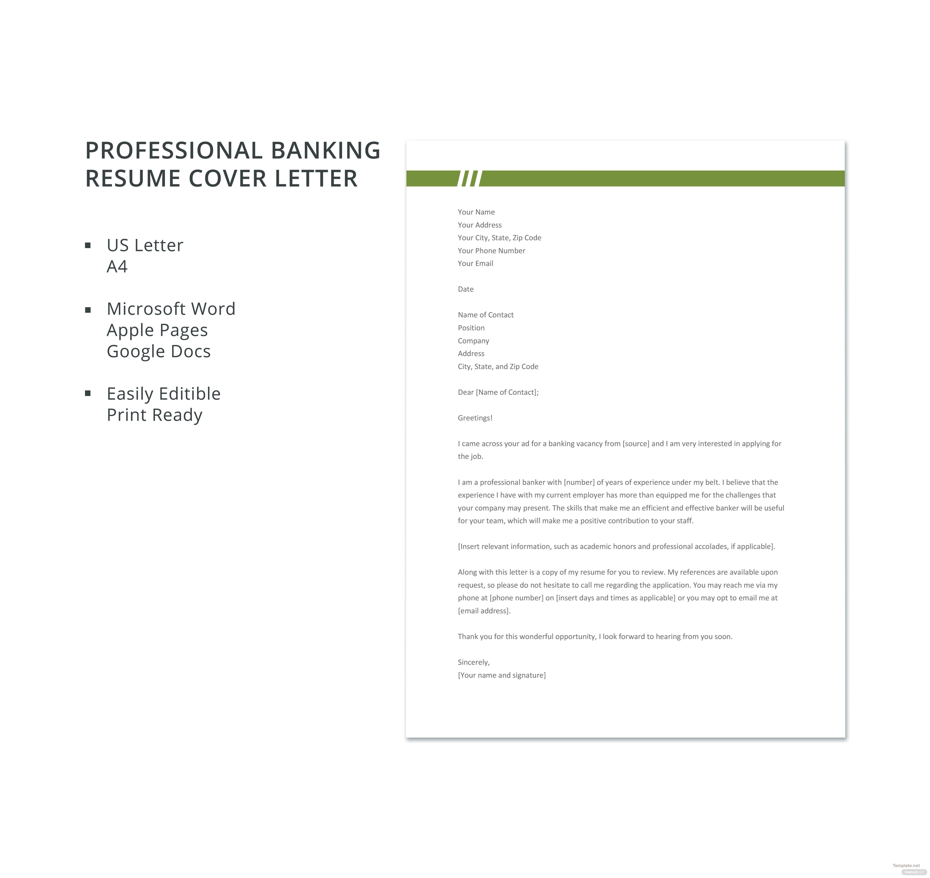 Cover Letter For Bank Resume