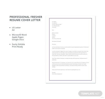 Free Professional Fresher Resume Cover Letter Template