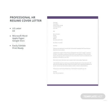 Free Professional HR resume Cover Letter Template