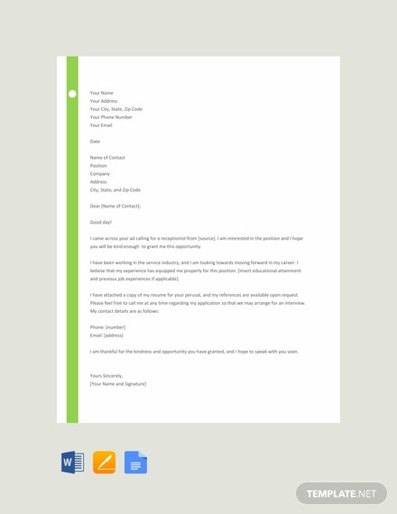 free receptionist resume cover letter template download 700