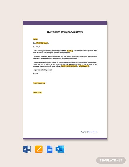 Free Receptionist Resume Cover Letter Template