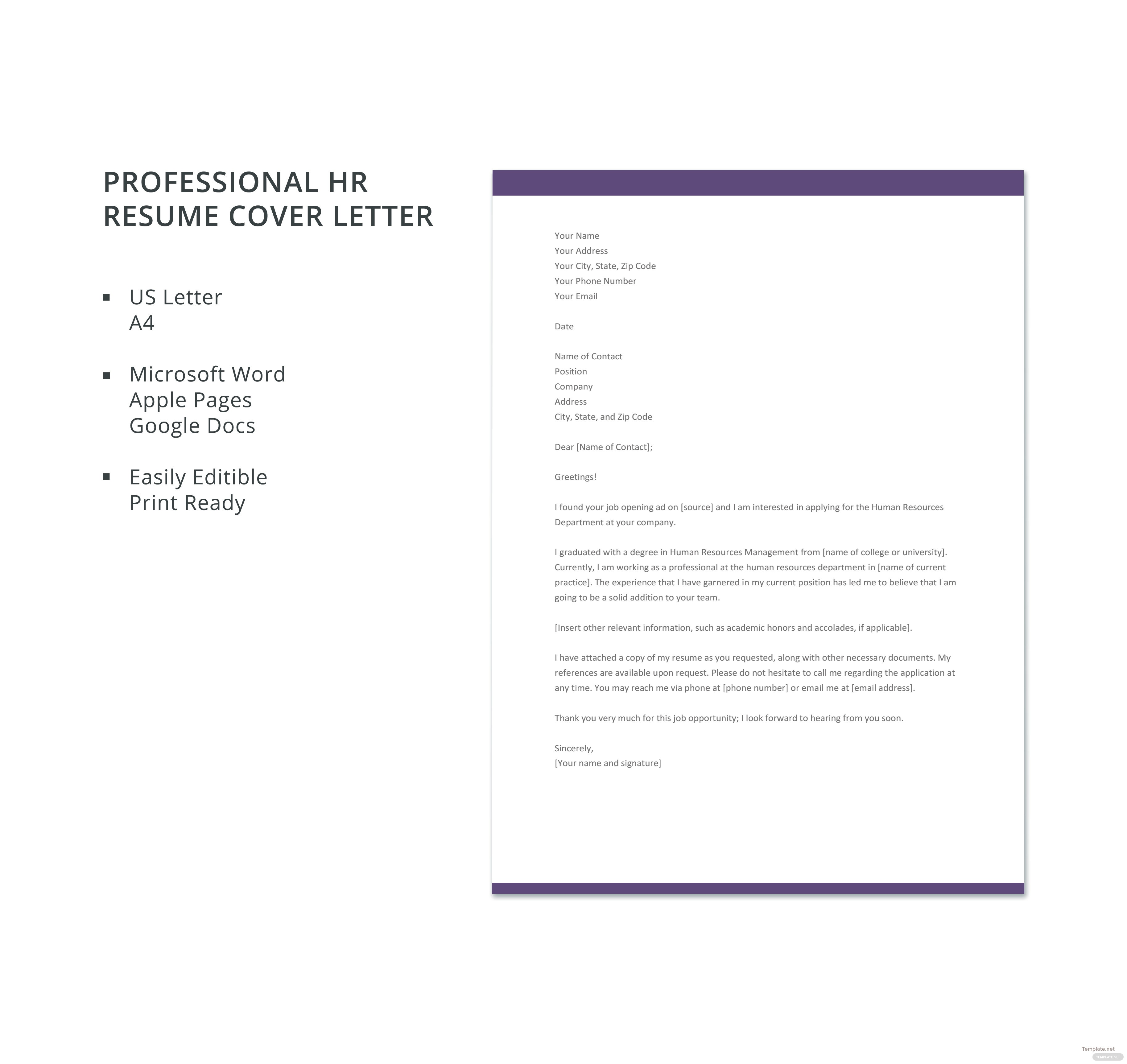 Free Receptionist Resume Cover Letter Template in Microsoft Word ...