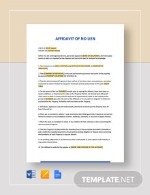 Affidavit of No Lien Template