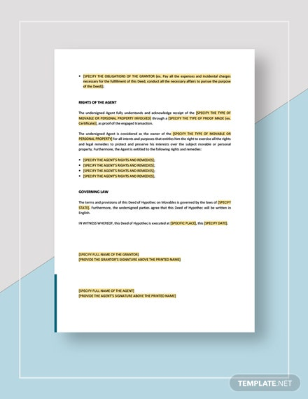 Deed of Hypothec on Movables Download