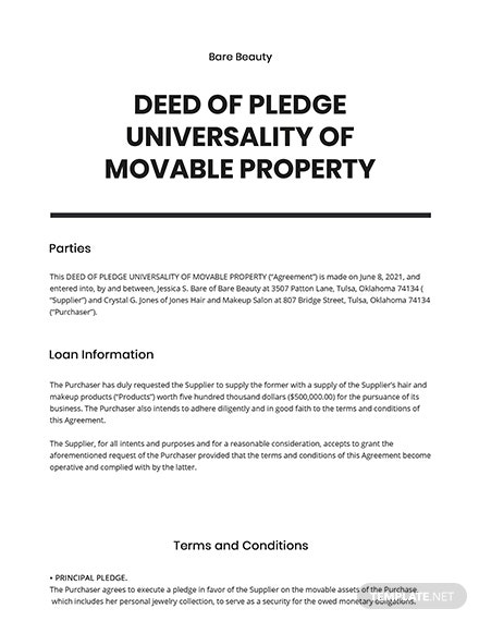 Deed of Pledge Universality of Movable Property Template