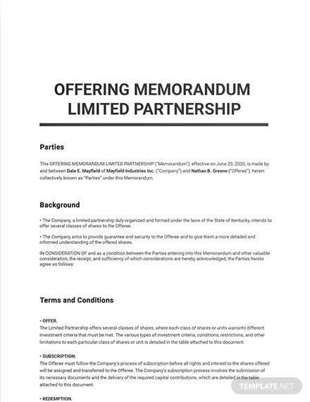 Offering Memorandum Limited Partnership Template