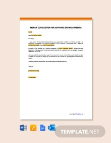 Free Resume Cover Letter Template for Software Engineer Fresher