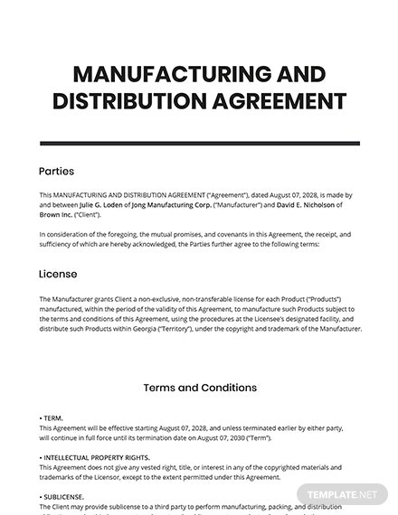Manufacturing  Distribution Agreement