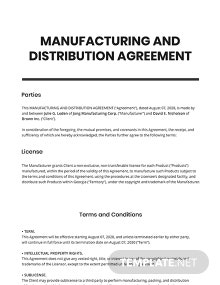 Manufacturing & Distribution Agreement Template