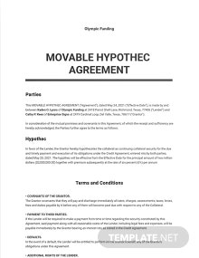 Movable Hypothec Agreement Template