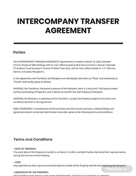 Intercompanies Transfer Agreement Template
