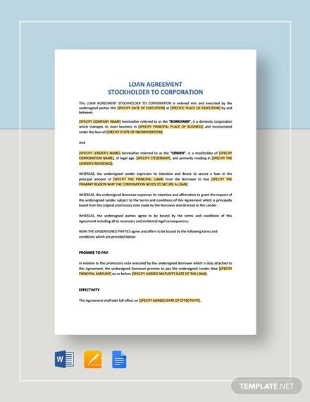 Loan Agreement Stockholder to Corporation Template