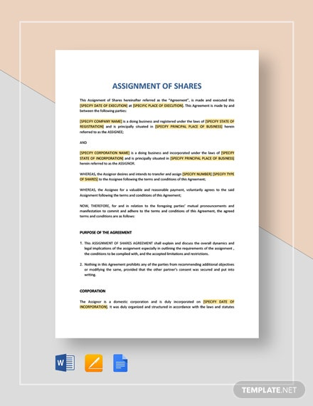 Assignment of Shares Template