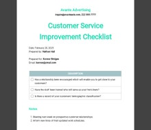 Customer Service Improvement Checklist Template