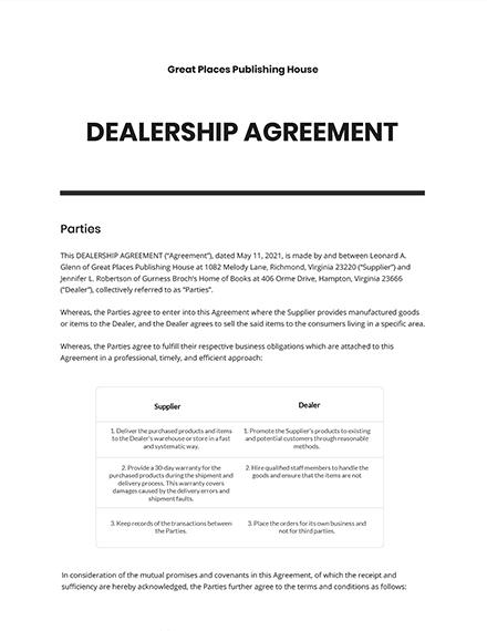 Dealership Agreement Template