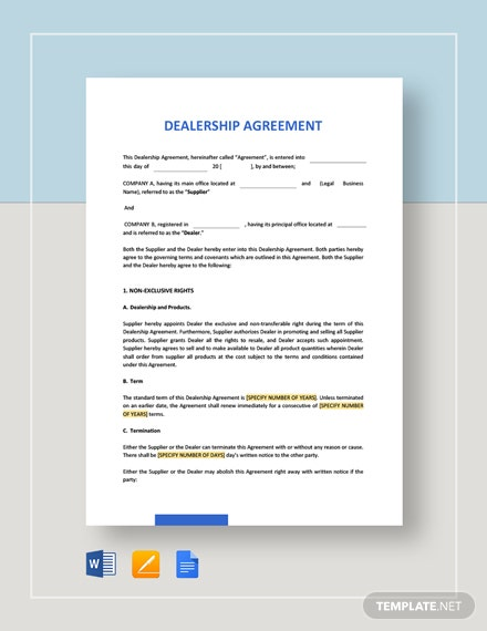 Dealership Agreement Template