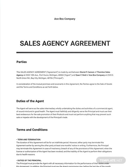 Sales Agency Agreement Template