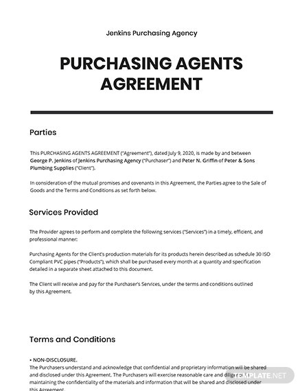 Purchasing Agents Agreement