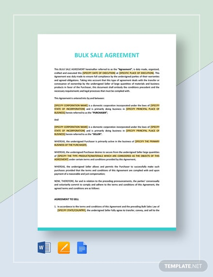 Bulk Sale Agreement Template
