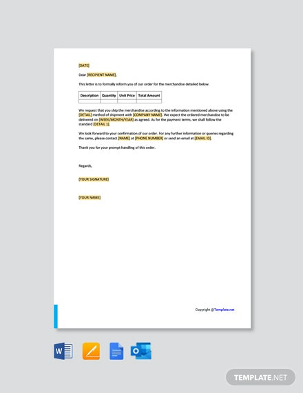 Purchase Order Letter Template