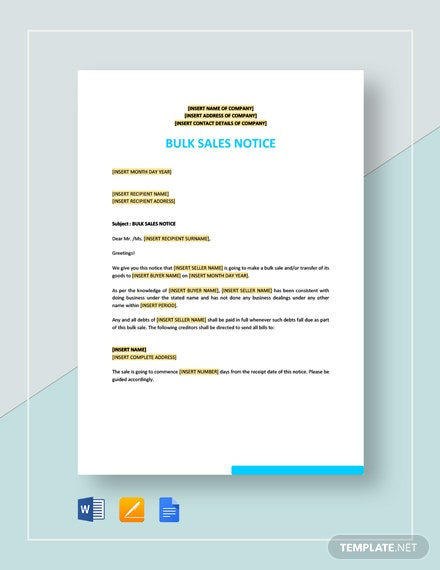 Bulk Sale Notice Template