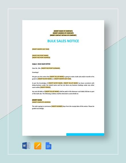 Bulk Sale Notice Template
