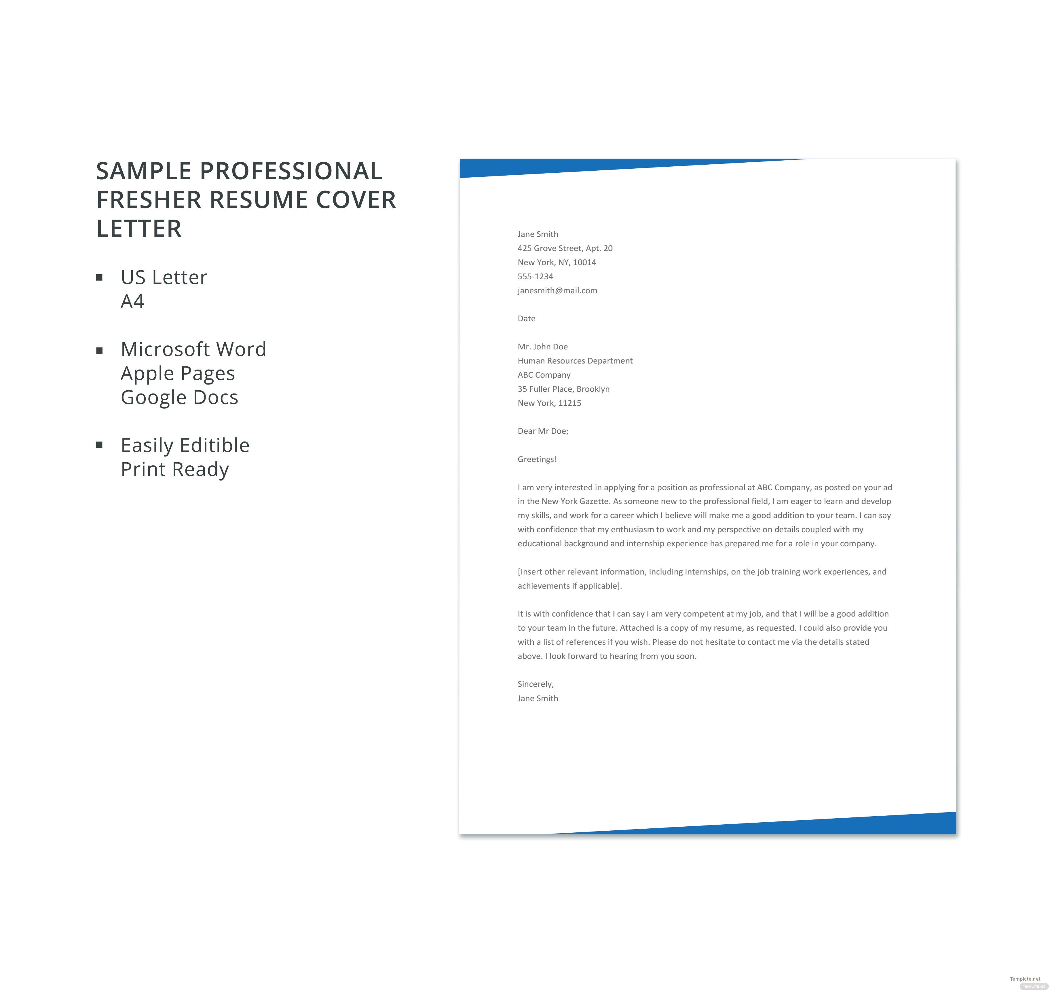 free sample professional fresher resume cover letter