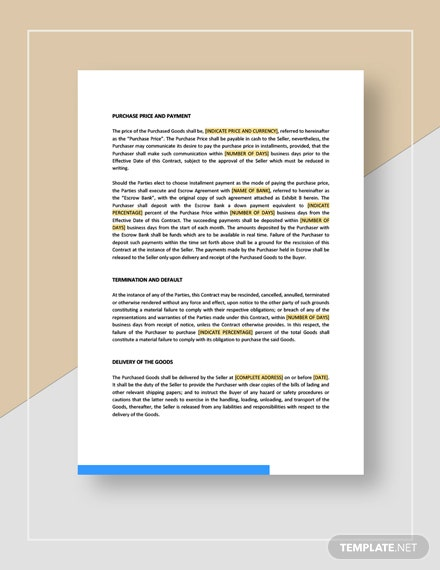 Contract for the Sale of Goods Template
