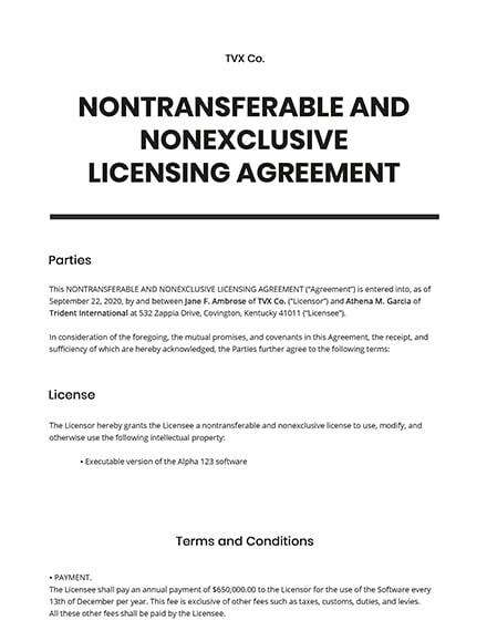 License Agreement Non Transferable and Non Exclusive License